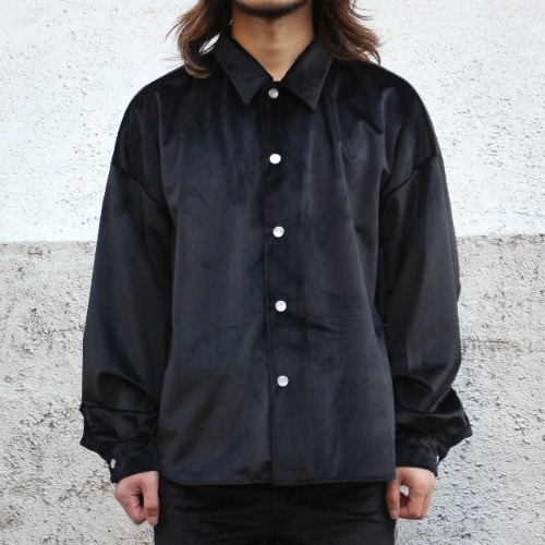 BIG SHIRT JACKET_VELOUR BLACK