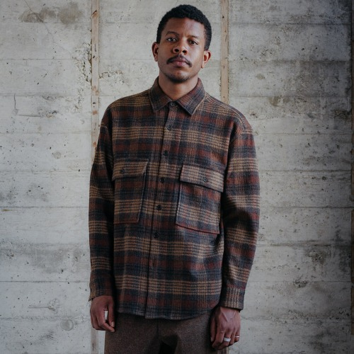 BIG SHIRT_MULTI CHECK WOOL GAUZE