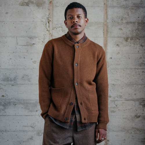 CREWNECK CARDIGAN_RUST