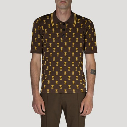 TROPHY JACQUARD POLO_BROWN/GOLD