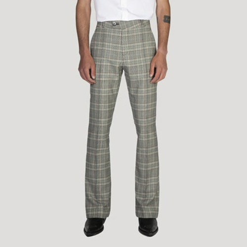 FLARE TROUSERS_GREY CHECK