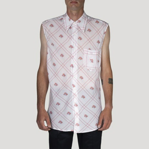 SLEEVELESS SHIRT_WHITE W/PRINT