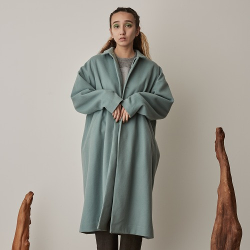 LAMB BEAVER BIG COAT_AQUA