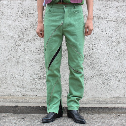ZIPPED PANTS_GREEN