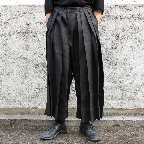 TROUSERS#56_BLACK HEMP TWILL