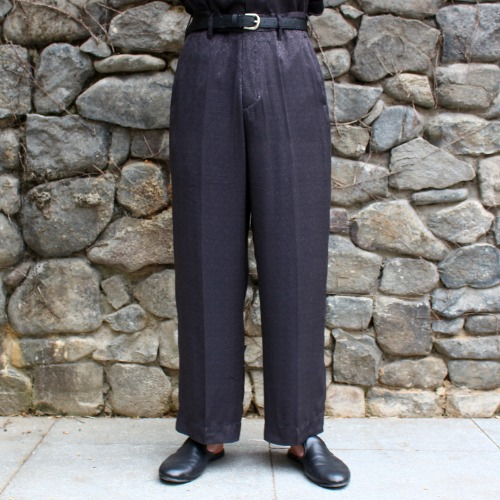 NO TUCK WIDE TROUSER_BLACK JAQUARD DIA