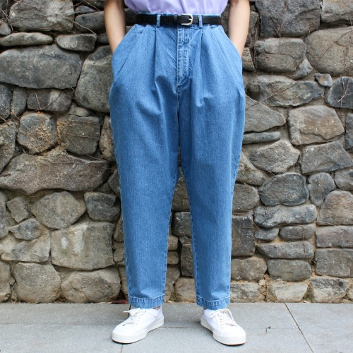 DENIM OVER TUCK PANTS_BLUE