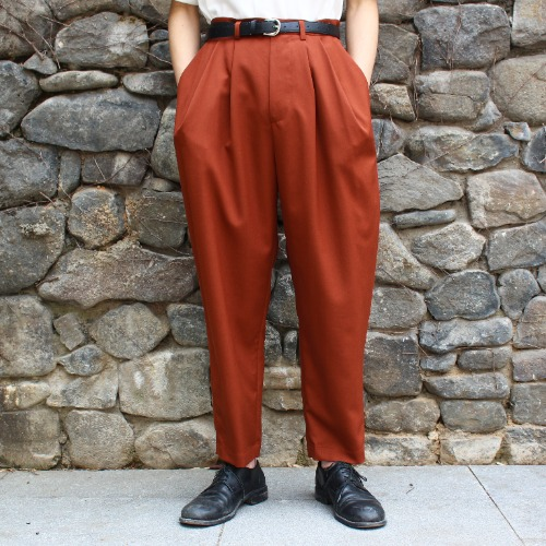 OVER TUCK PANTS_RED BROWN