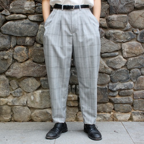 OVER TUCK PANTS_CHECK