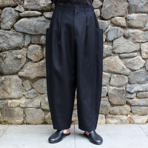 2TUCK SIDE POCKET PANTS_BLACK