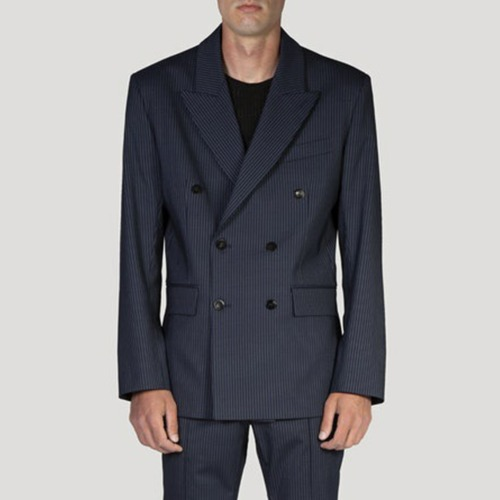 DOUBLE BREASTED BLAZER_NAVY STRIPE