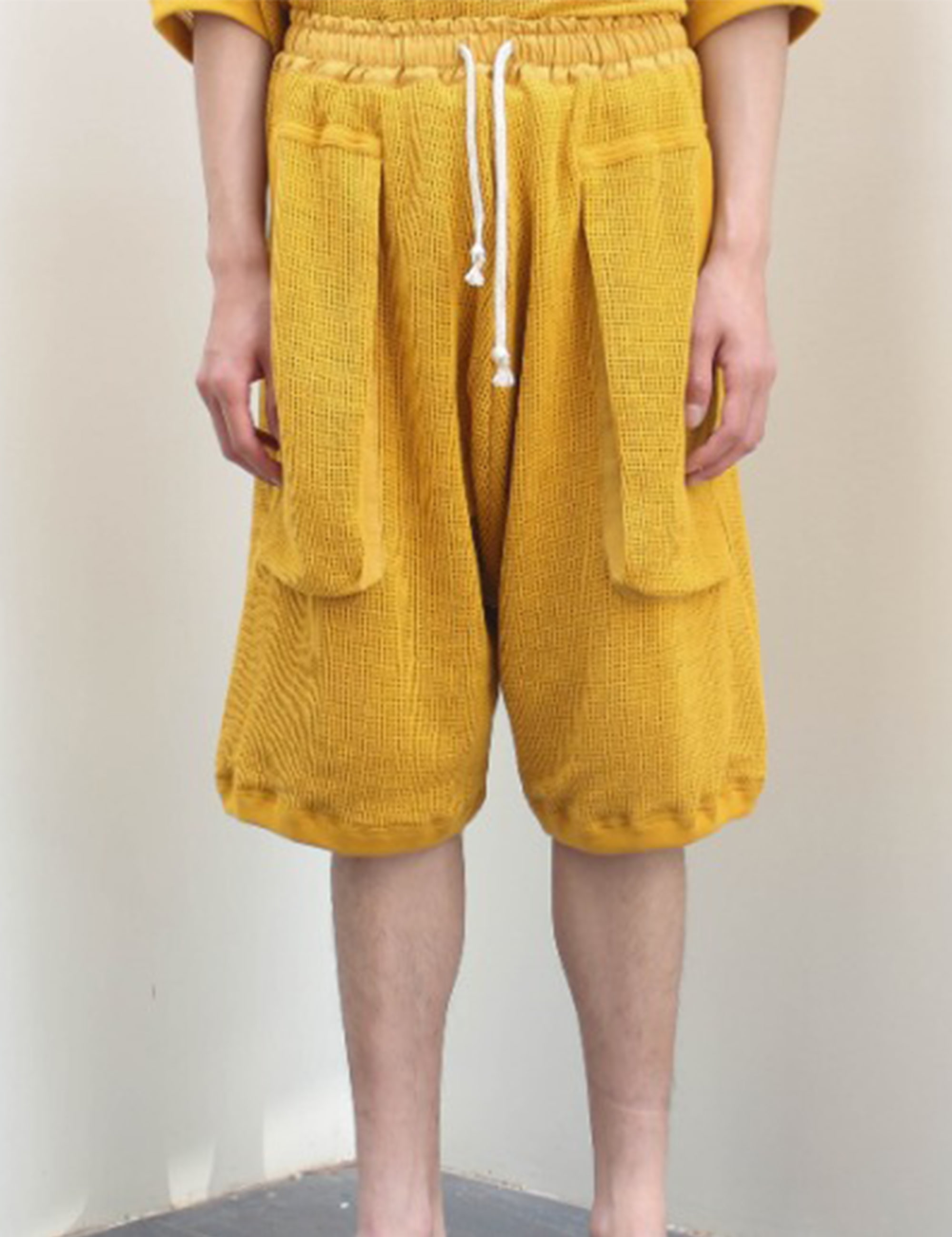 DOUBLE LAYER MESH SHORTS_SUNFLOWER