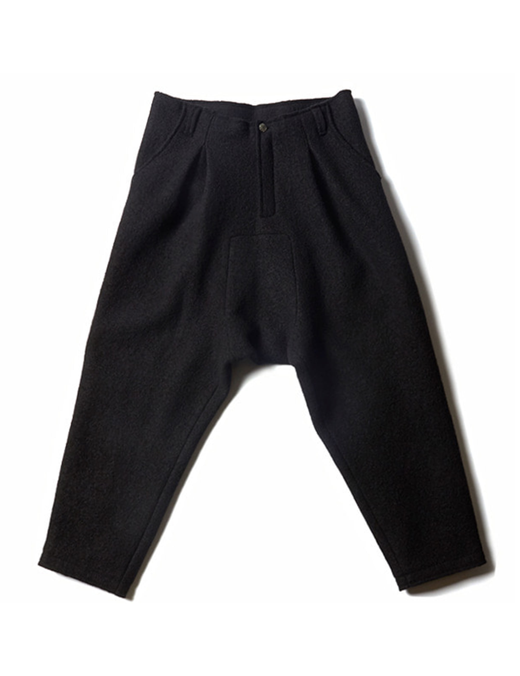 JOHANN LINED WOOL TROUSERS_BLACK HANDPAINT