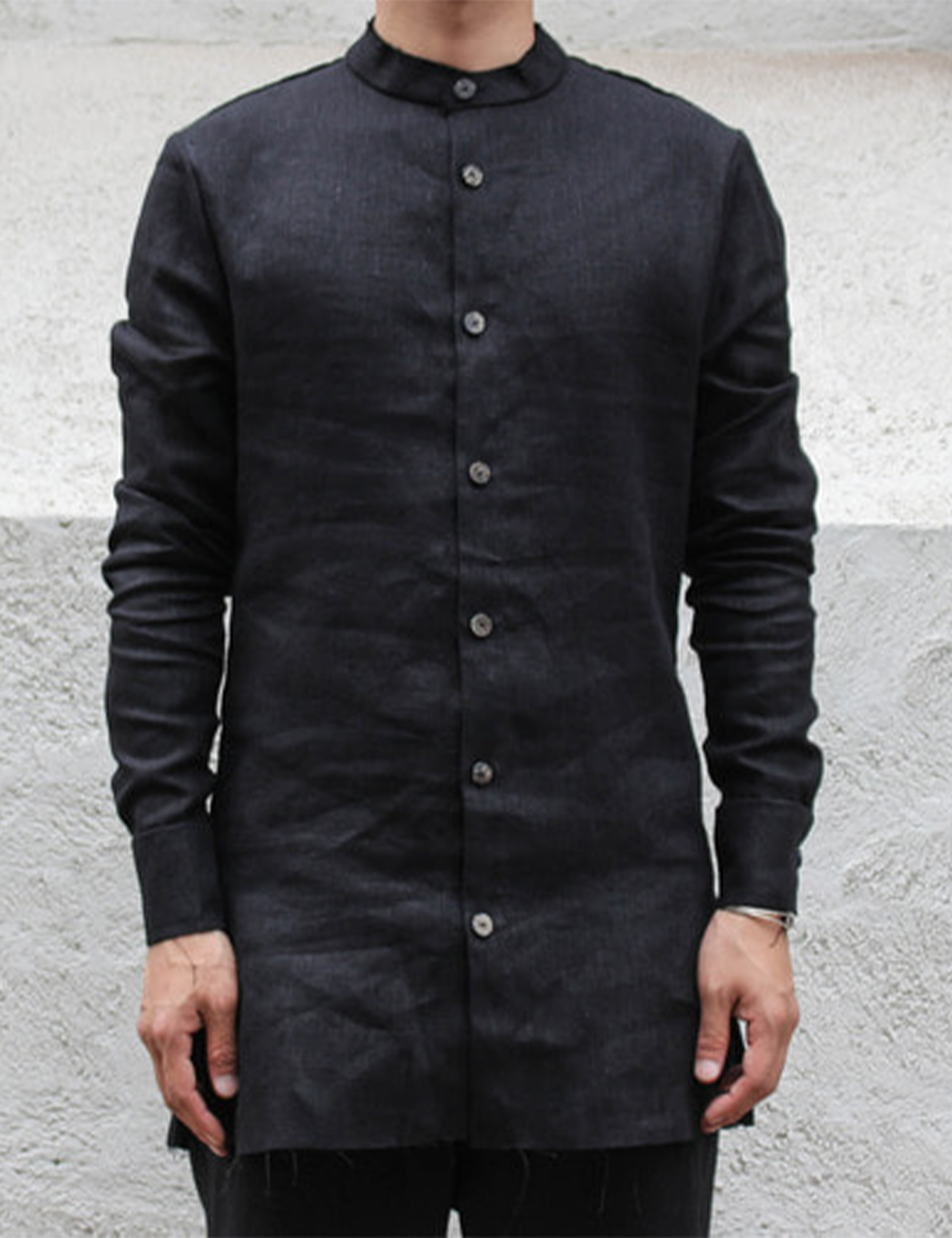 EINAR MANDARIN COLLAR SHIRT_BLACK