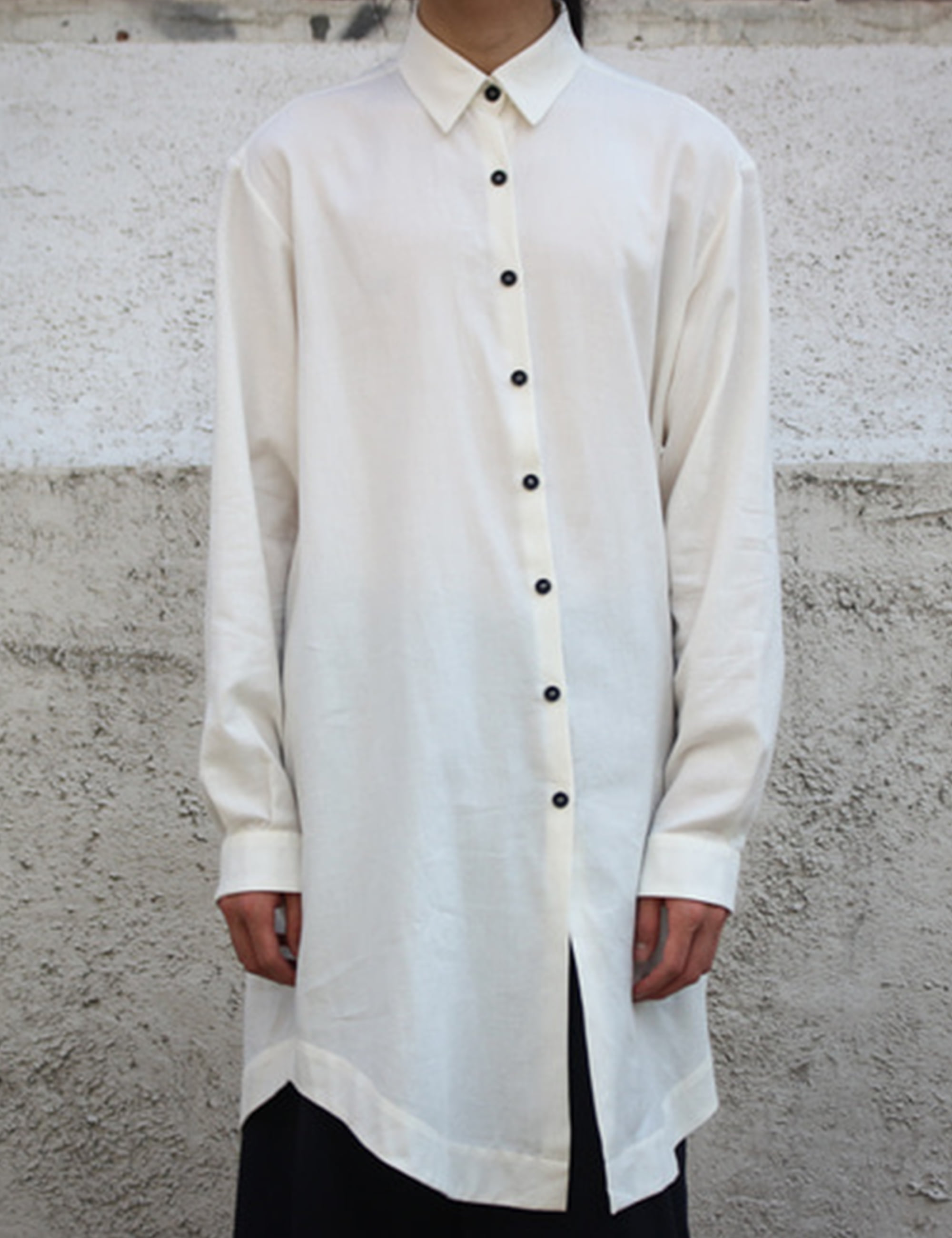 PLEAT LONG SHIRT_WHITE FLANNEL