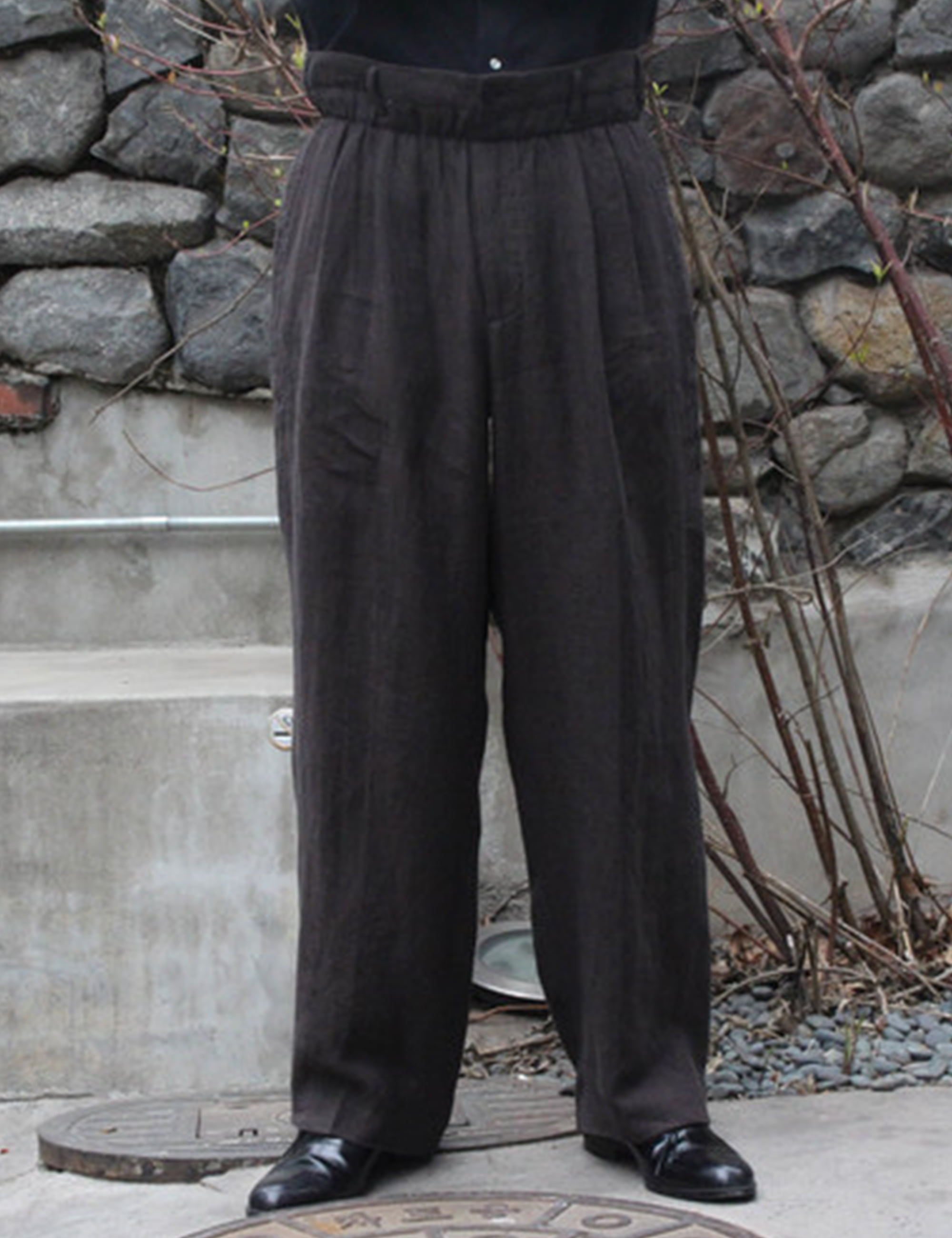 HUGE ELASTIC PANTS_BROWN