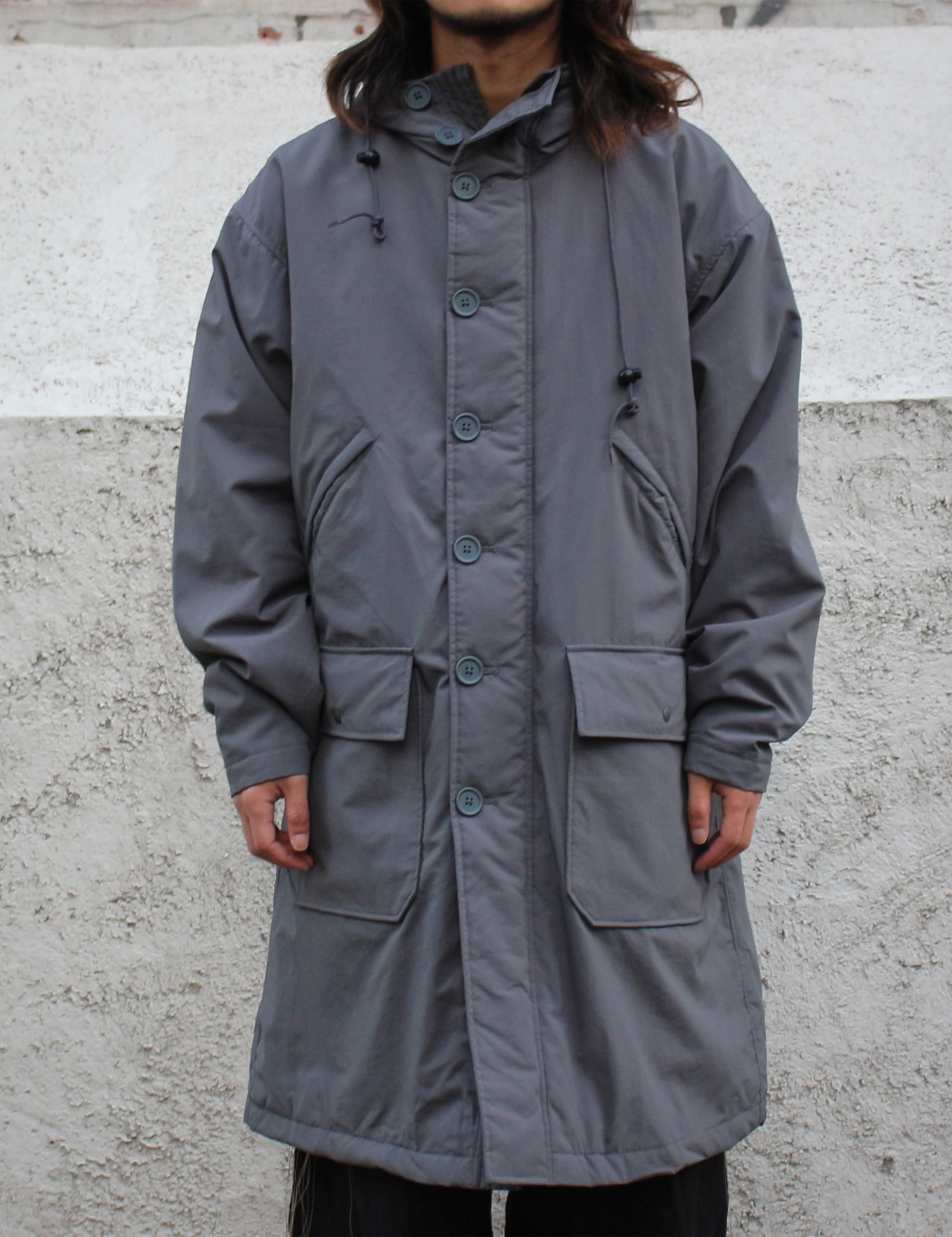 LONG BUTTON FRONT PARKA_CHARCOAL