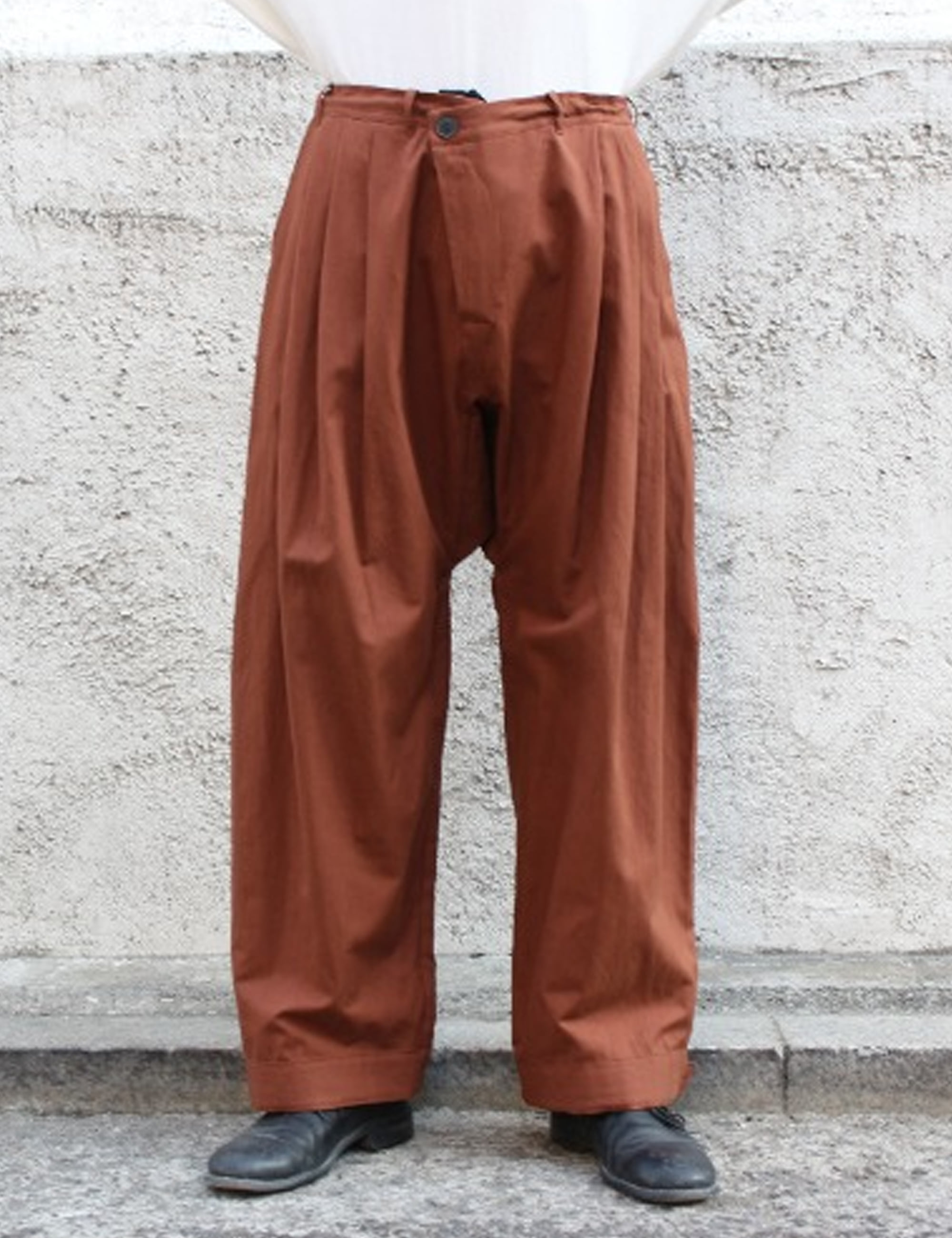 TROUSERS#55_RUST DENSE TWILL
