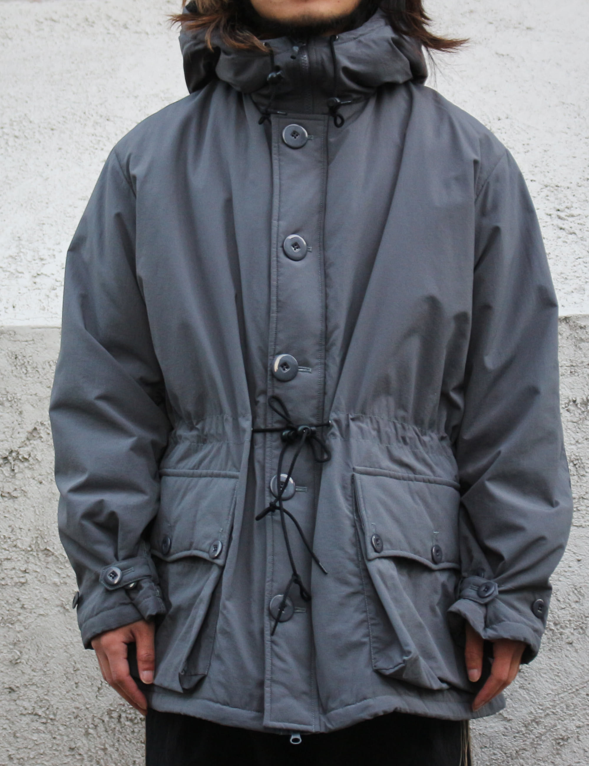BUTTON FRONT PARKA_CHARCOAL