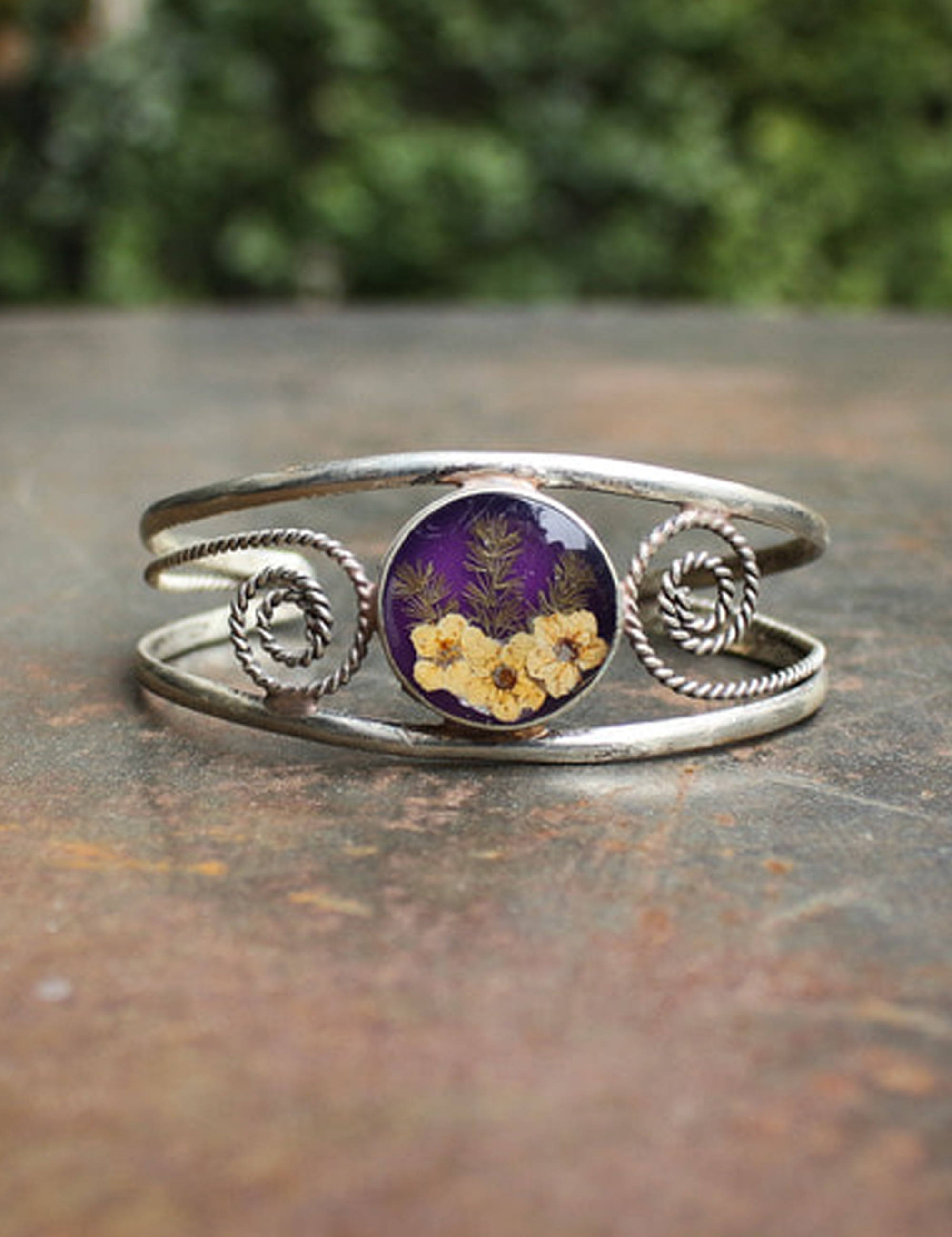 FLOWER WIDE BRACELET_PURPLE