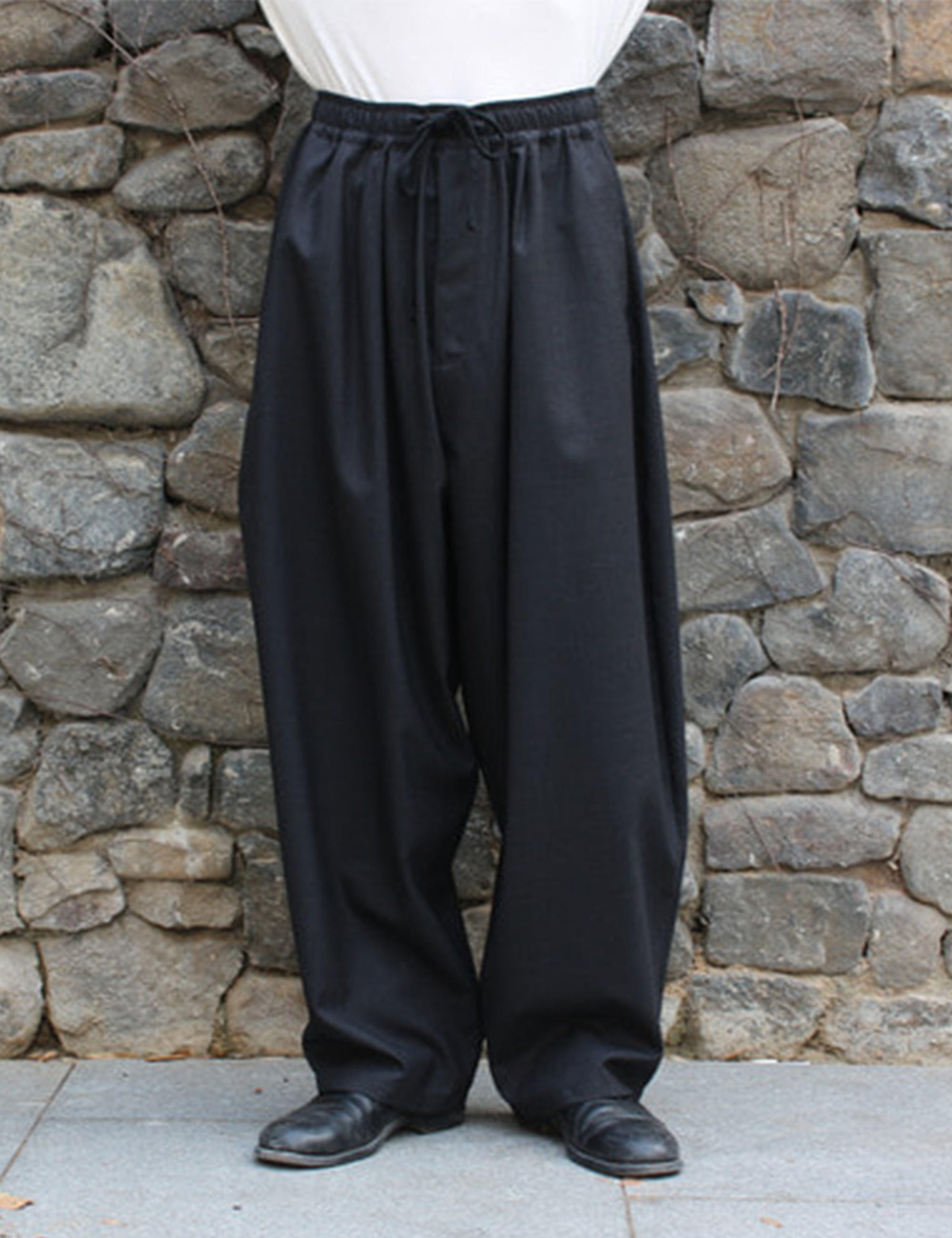 WORSTED WIDE EASY PANTS_CHARCOAL