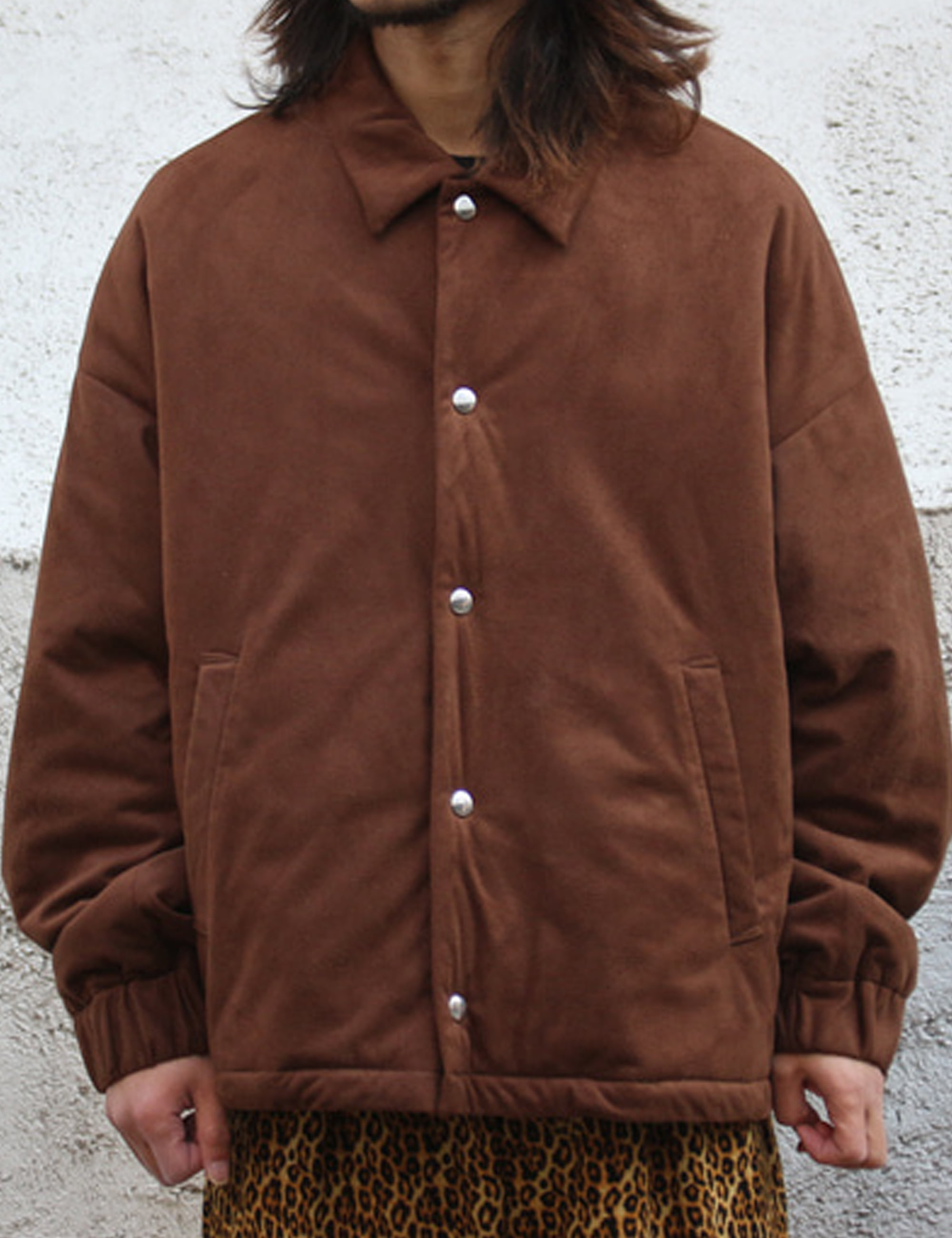PADDING COACH JACKET_SUEDE BROWN