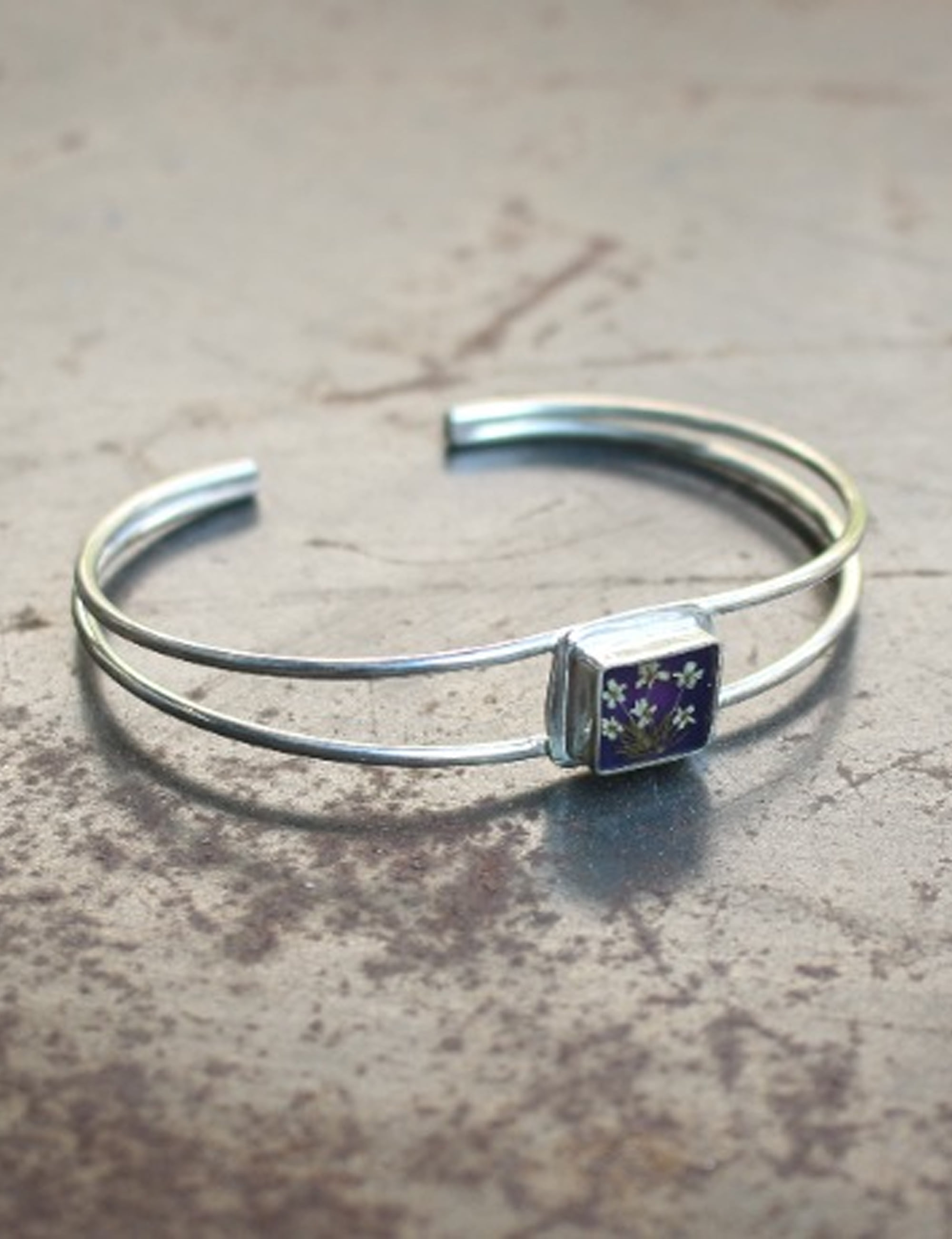 FLOWER EXTRAFINE SQUARE BRACELET_PURPLE