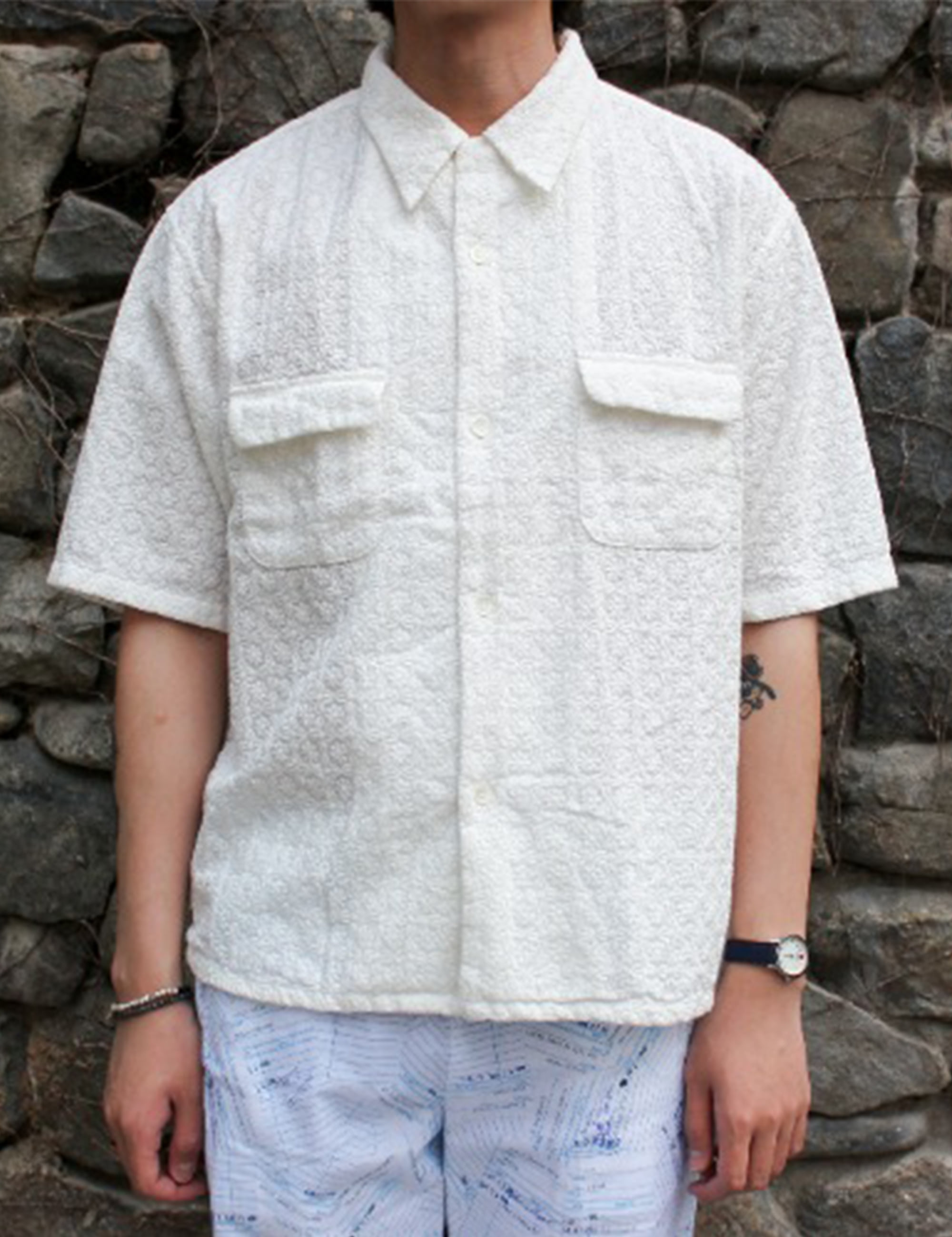 TORRANCE OPEN COLLAR SS SHIRTS LACE_WHITE