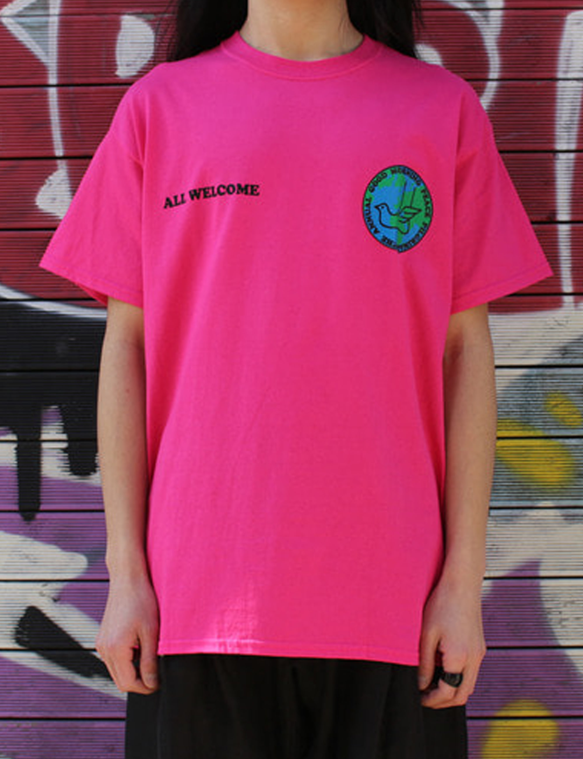 PEACE PILGRIMAGE SS TEE_HOT PINK