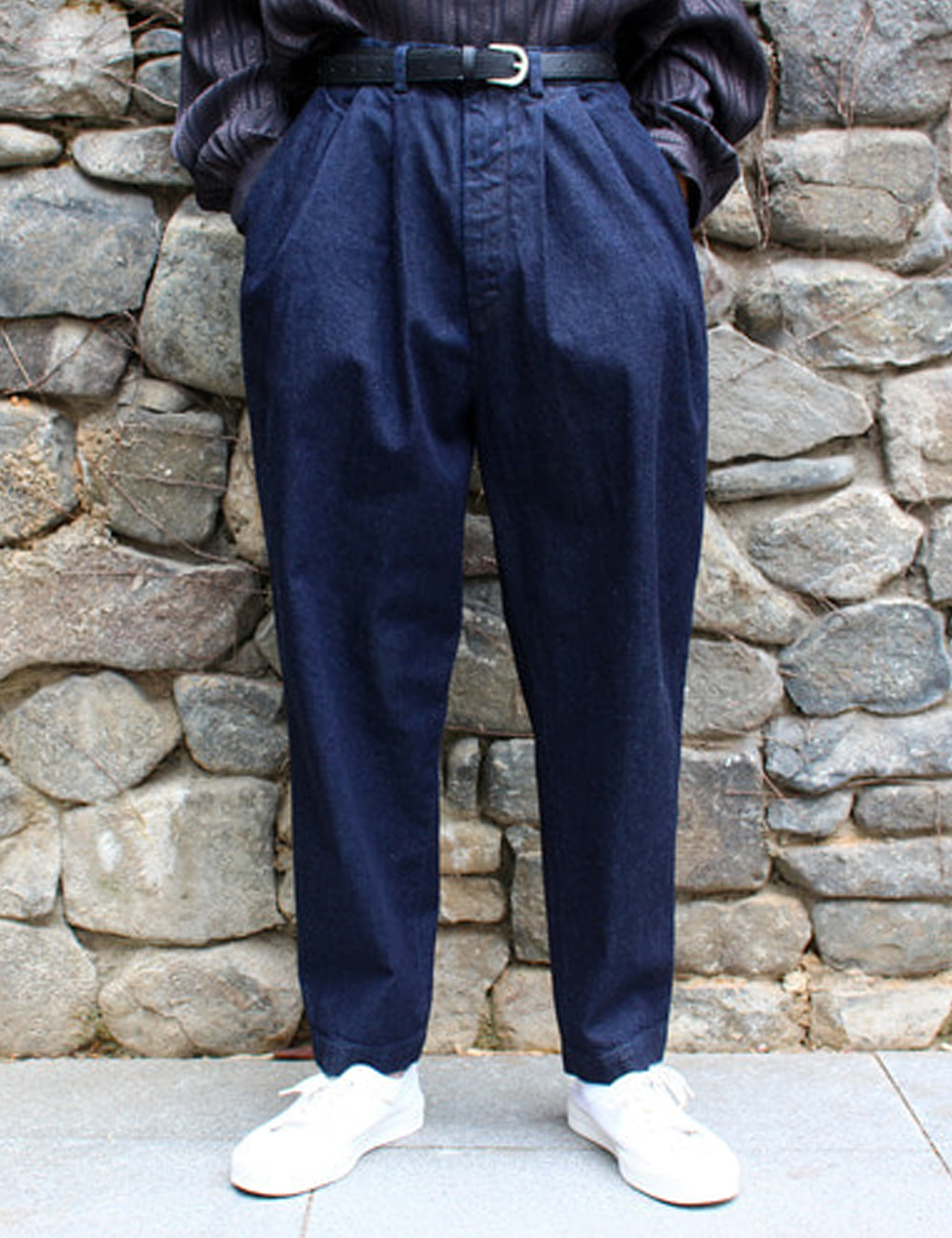 DENIM OVER TUCK PANTS_INDIGO