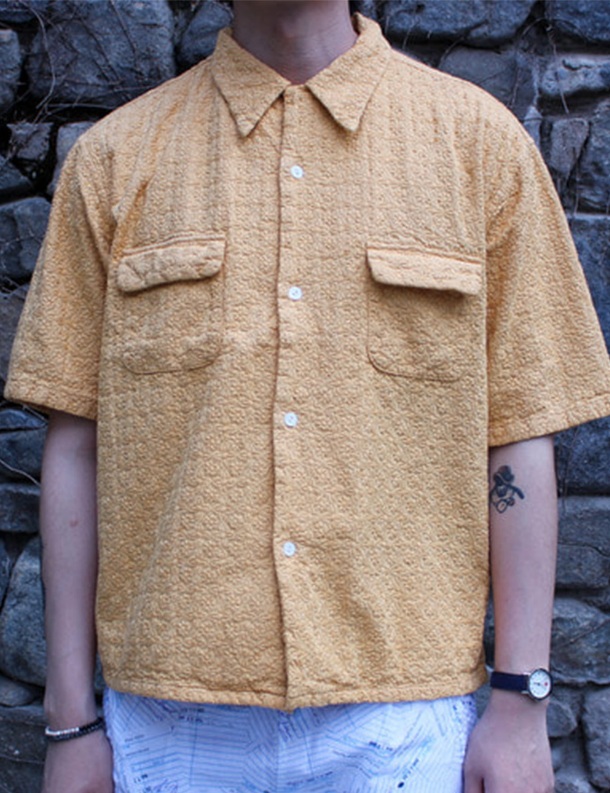 TORRANCE OPEN COLLAR SS SHIRTS LACE_YELLOW