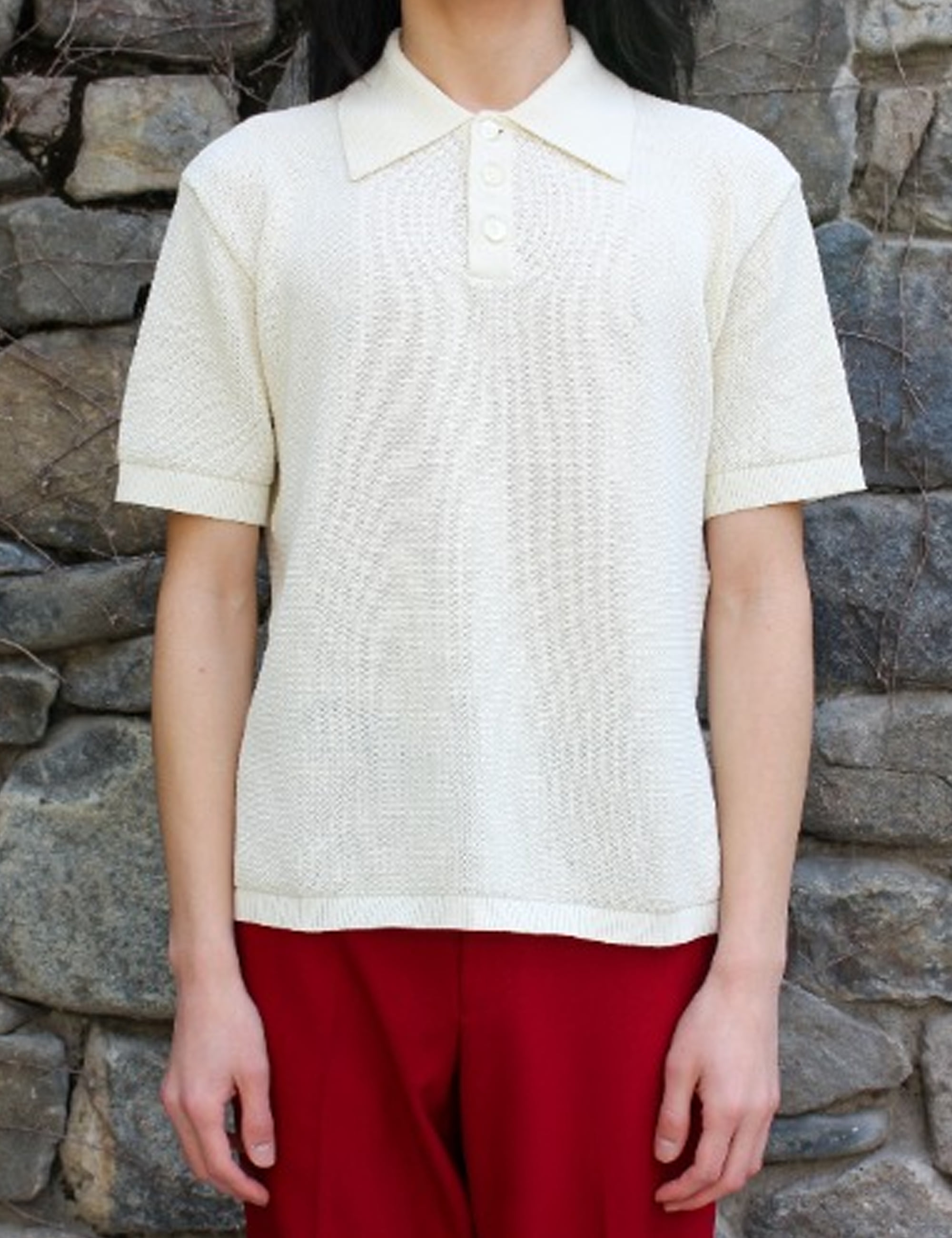 KNIT POLO_WHITE