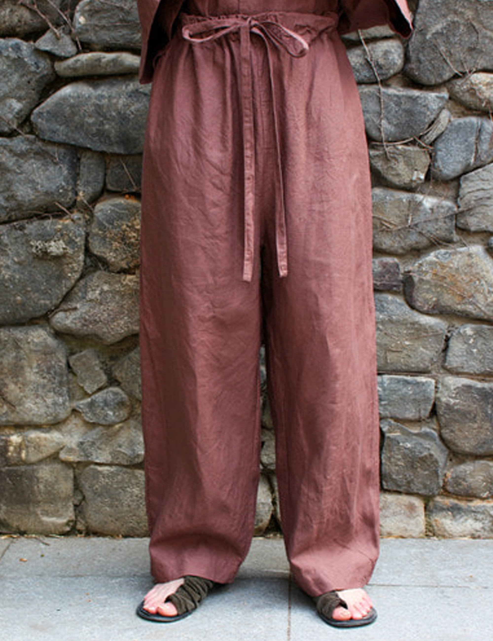 WIDE LOOSE PANTS_ROSE BROWN