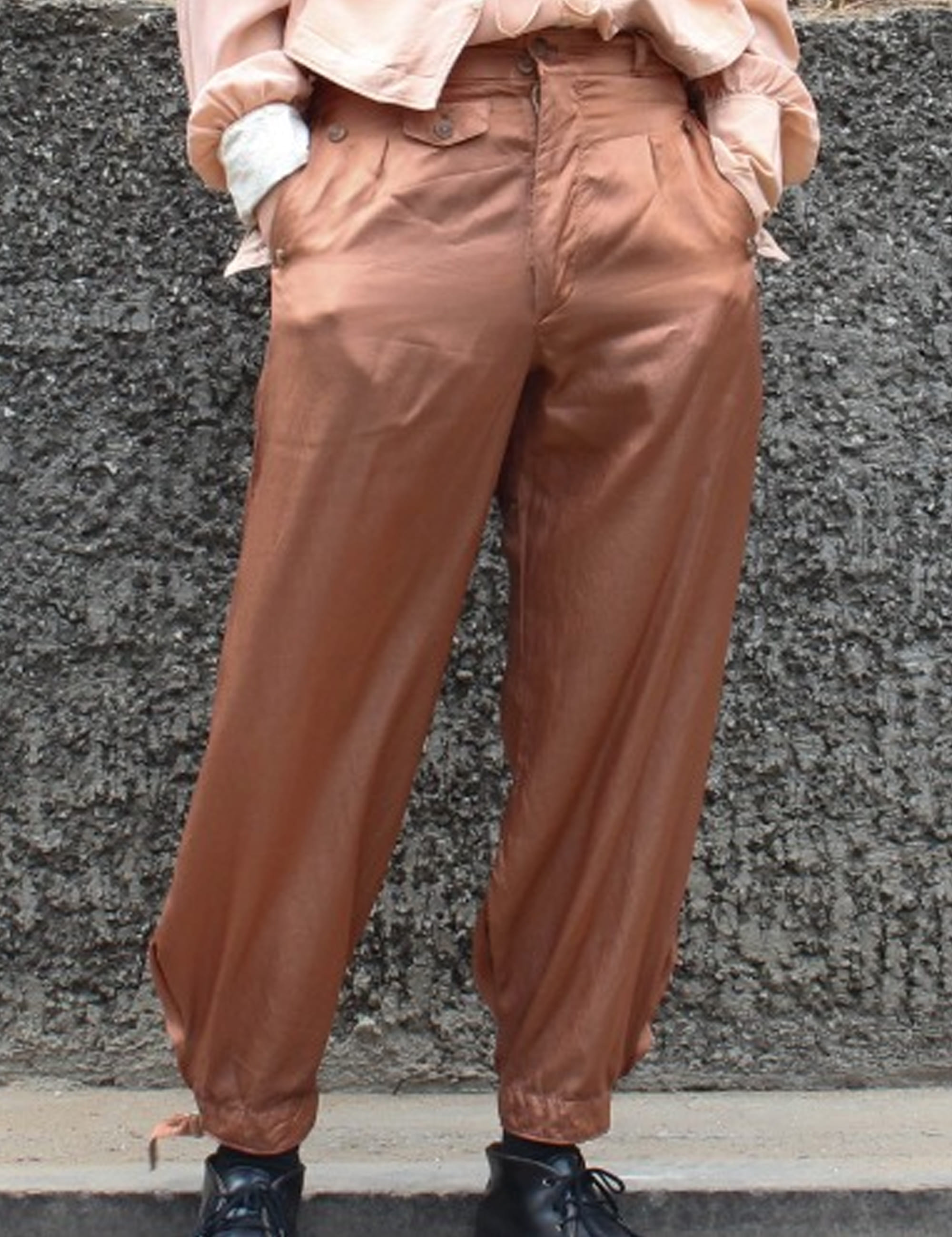 SATIN GOLF TROUSERS_BROWN