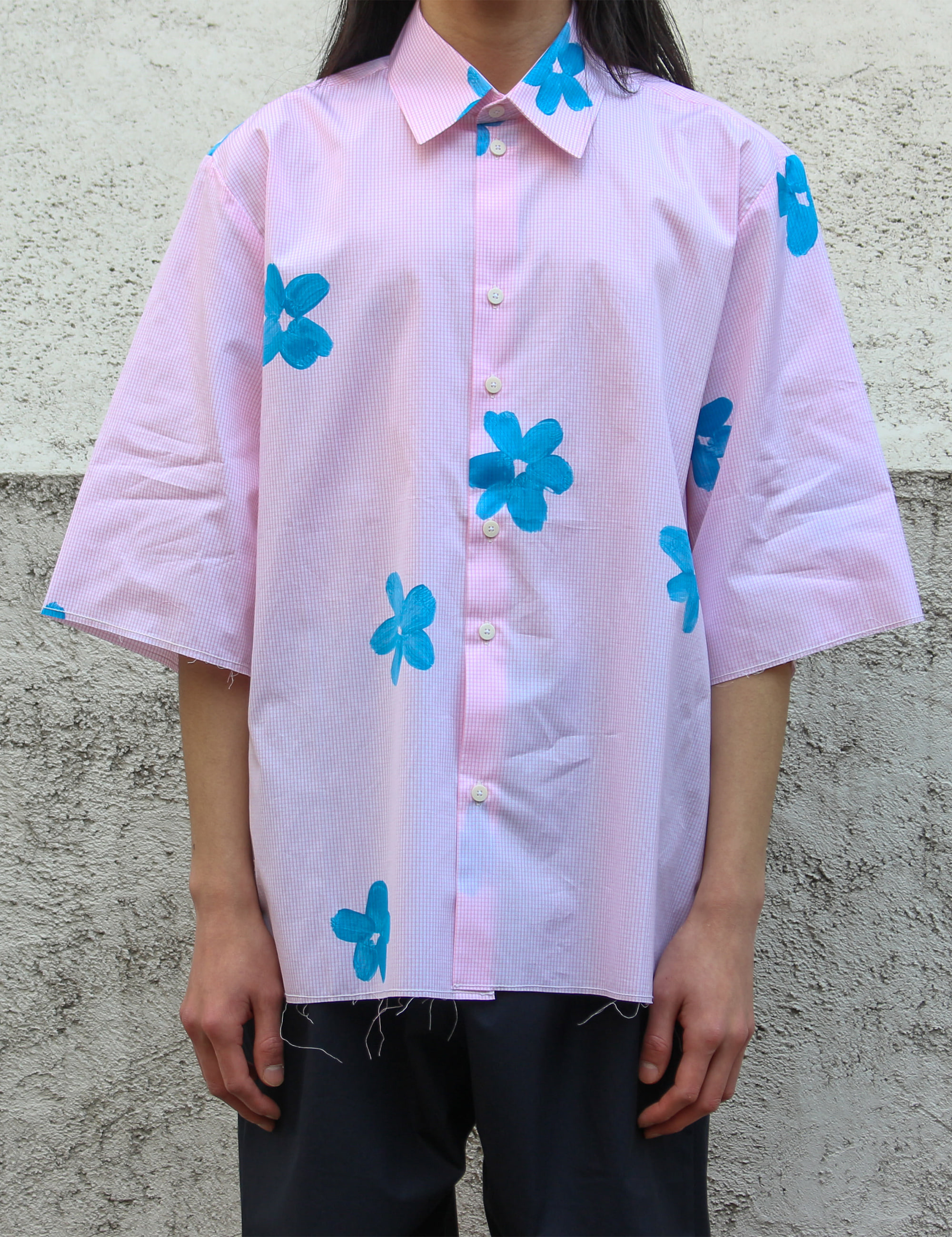 HAND PAINTED FLOWER SHIRT_PINK