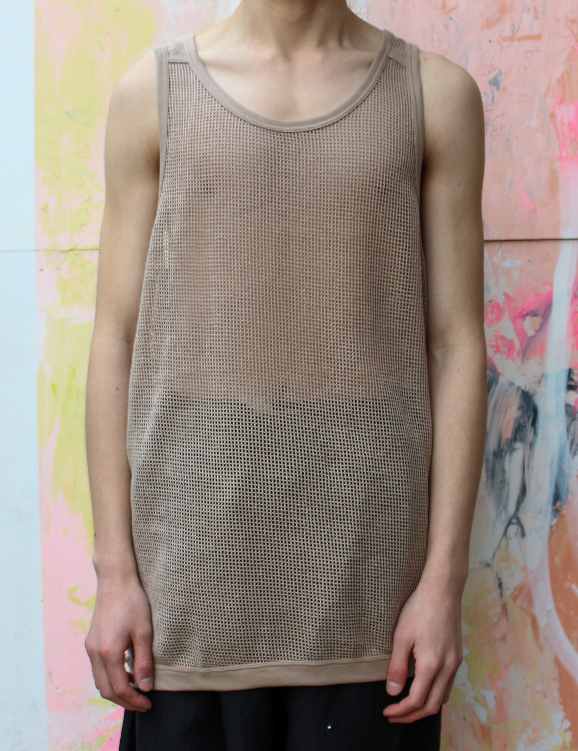 MESH TANK TOP_LIGHT BROWN