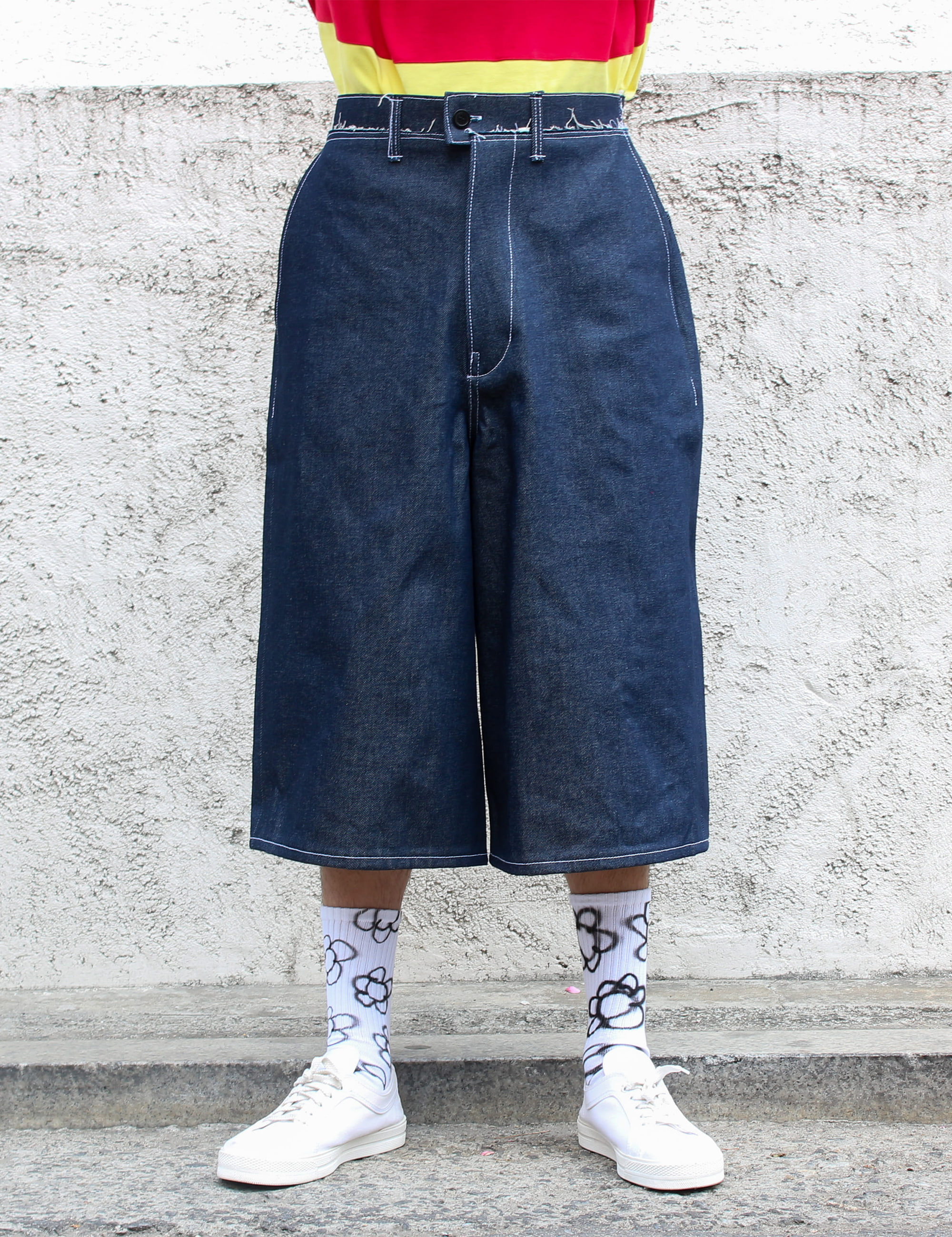 2/3 DENIM SHORTS_DARK BLUE