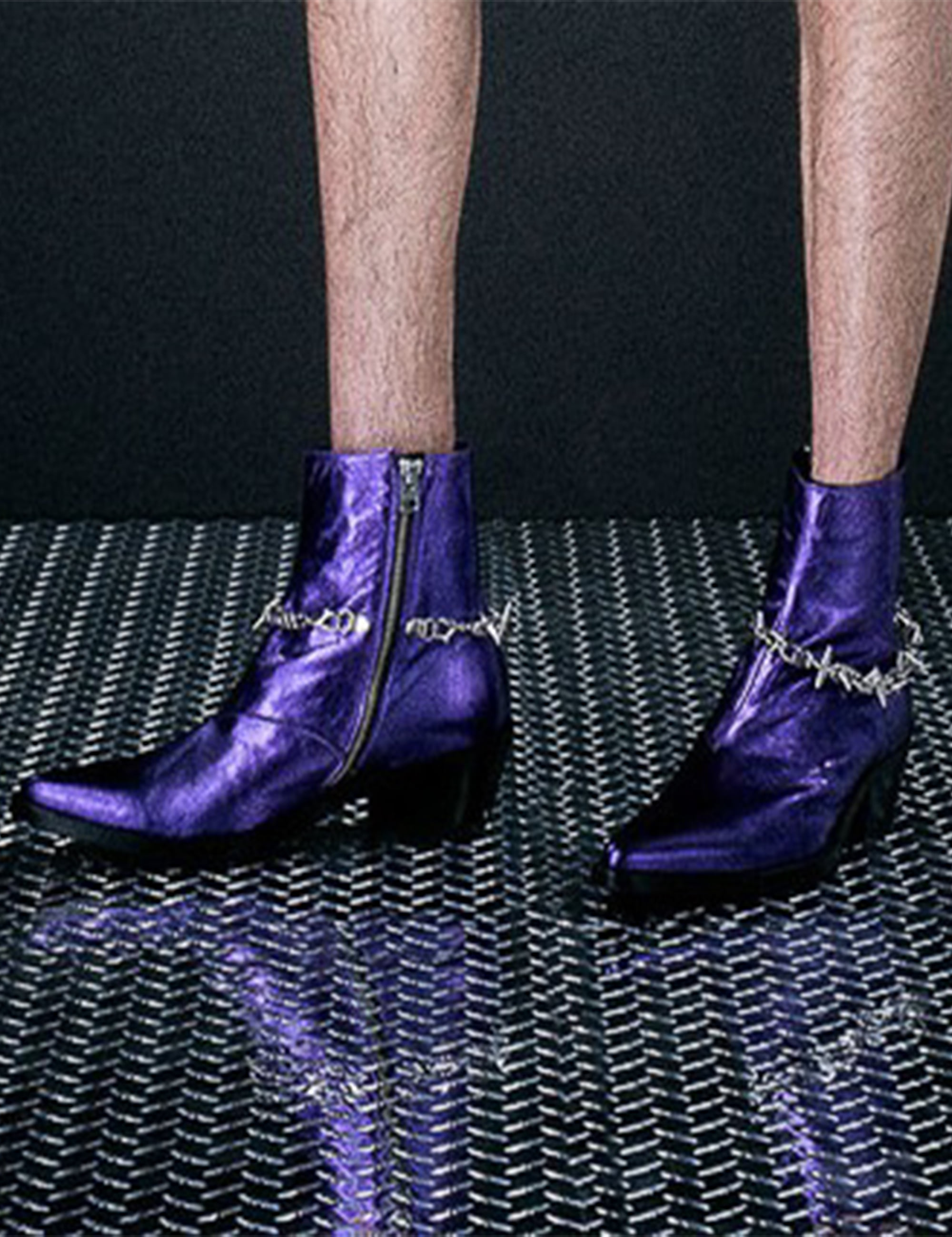 SPIKE CHAIN VAQUERO BOOT_VIOLET