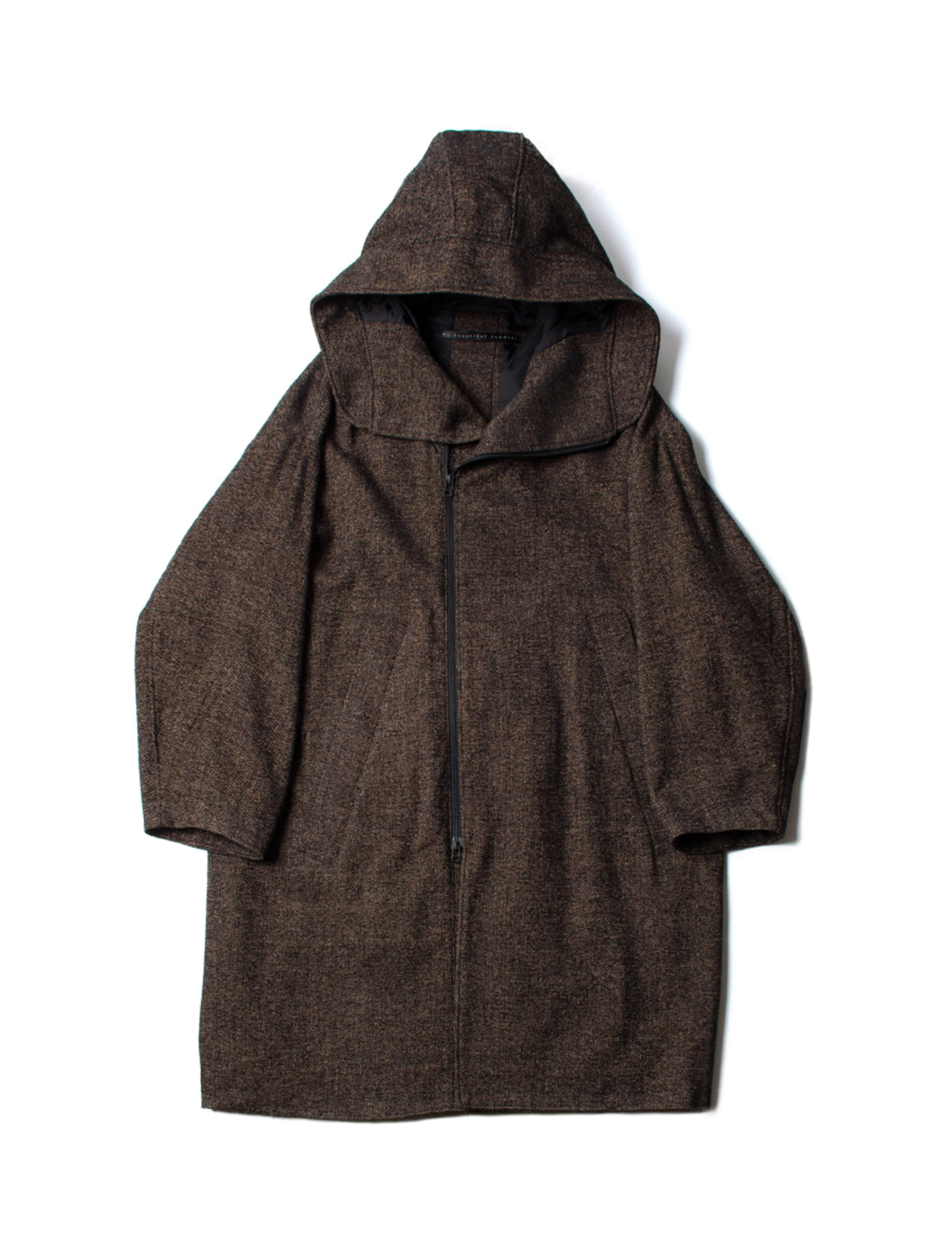BRITISH WOOL HOODED BIG COAT_BROWN