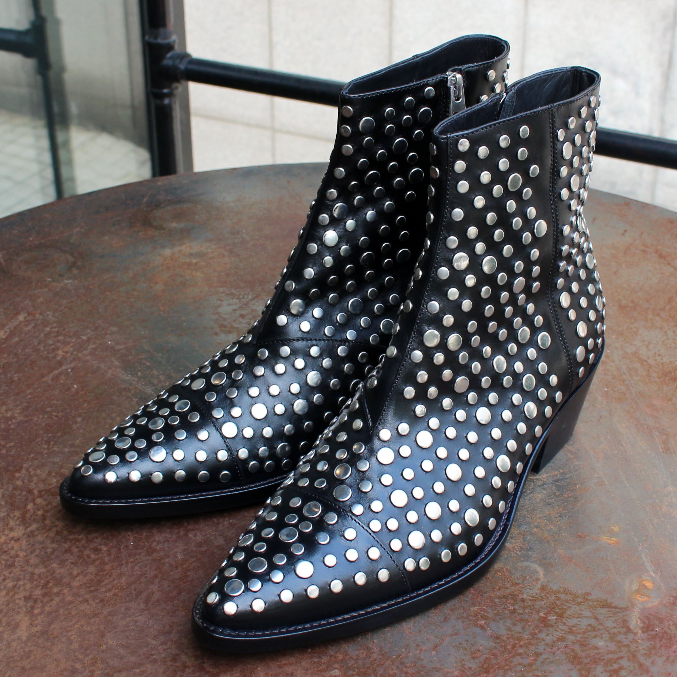 STUDDED VAQUERO BOOT_BLACK