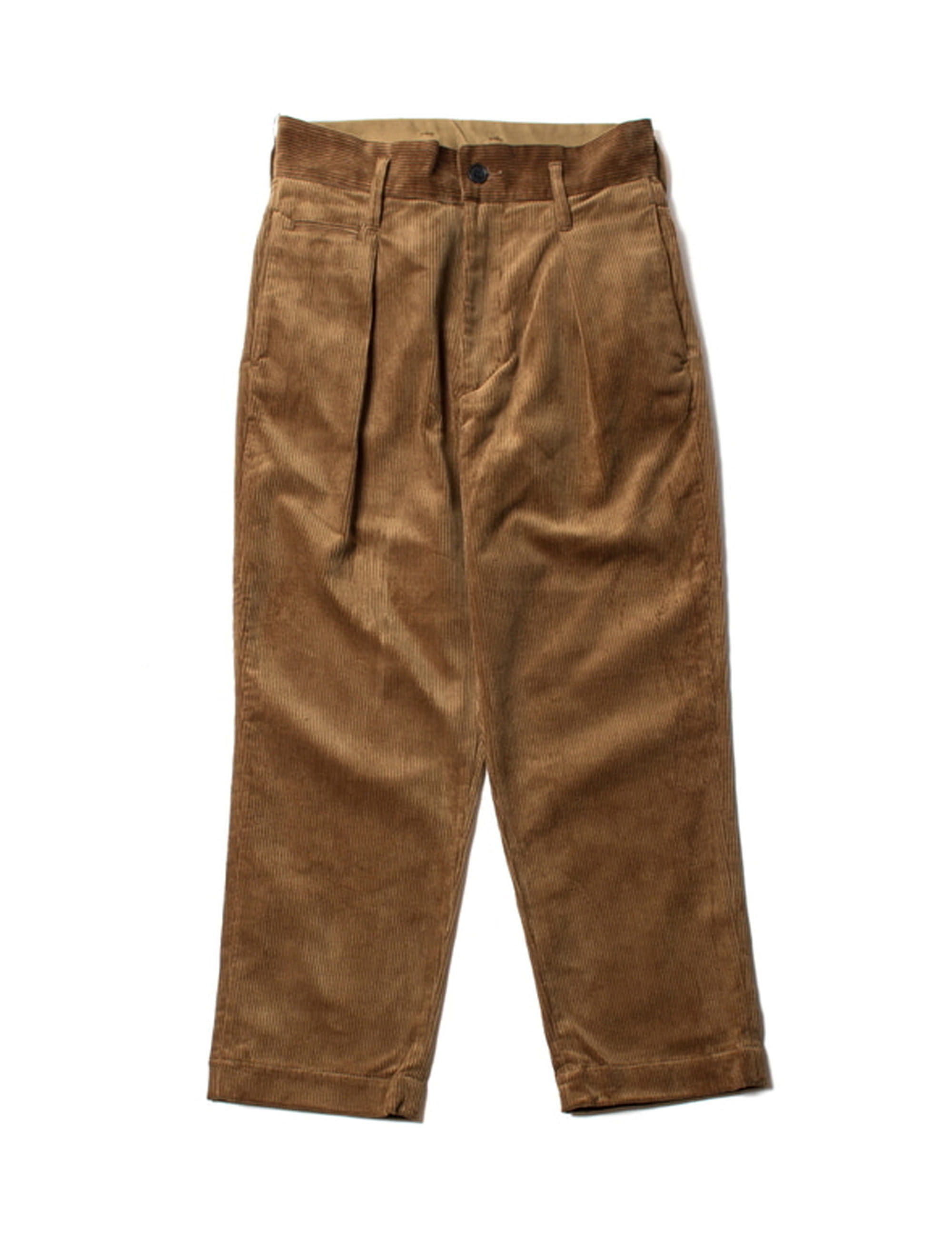 8W CORDUROY TUCK WIDE PANTS_BROWN