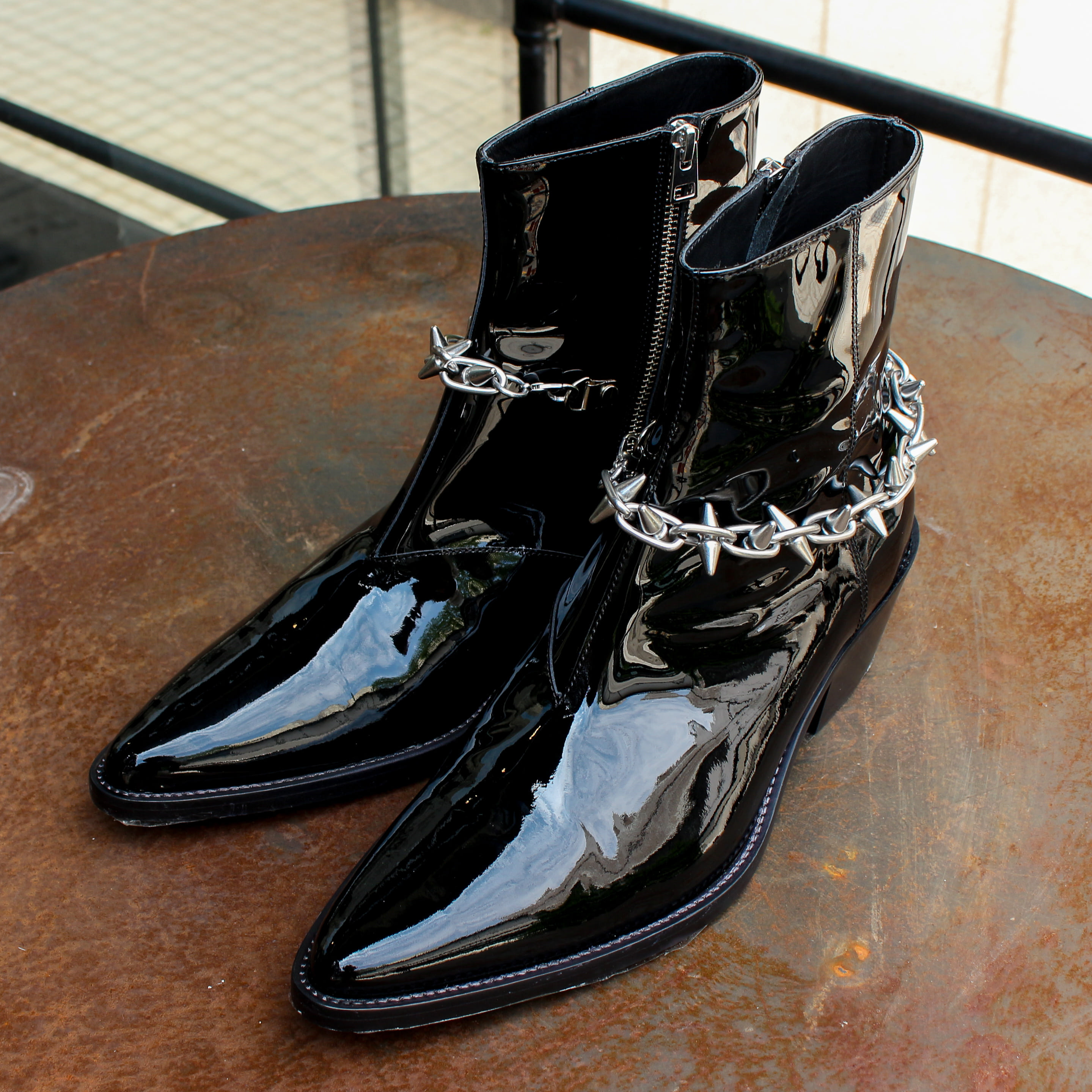 SPIKE CHAIN VAQUERO BOOT_BLACK