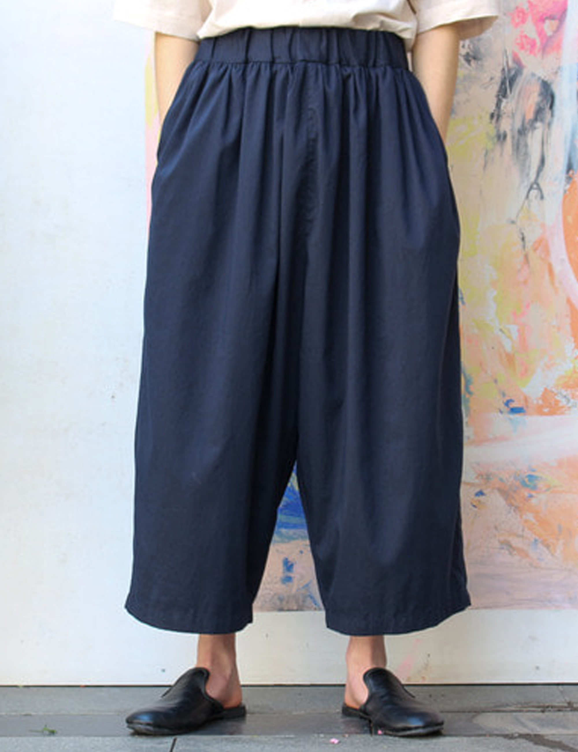 BANDING WIDE PANTS_NAVY