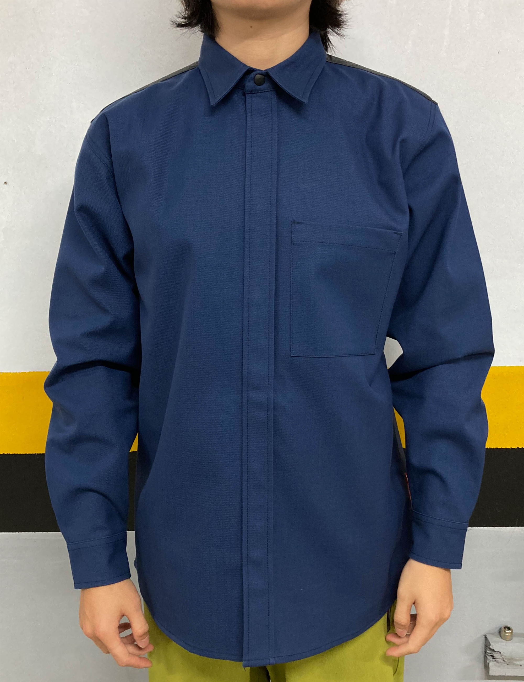KLOPMAN FR GLOVE PANEL OVERSHIRT_NAVY