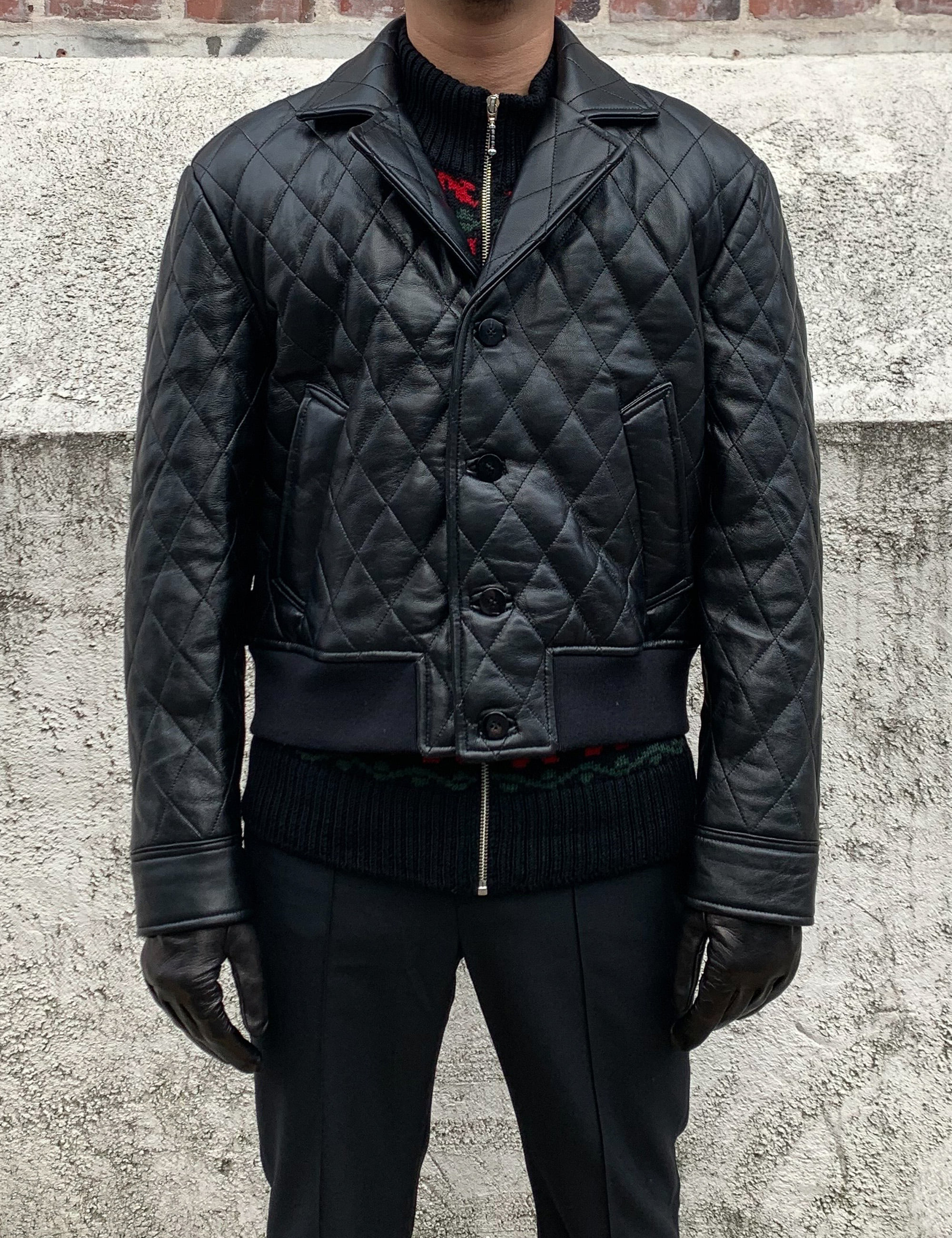 QUILTED LEATHER BOMBER_BLACK