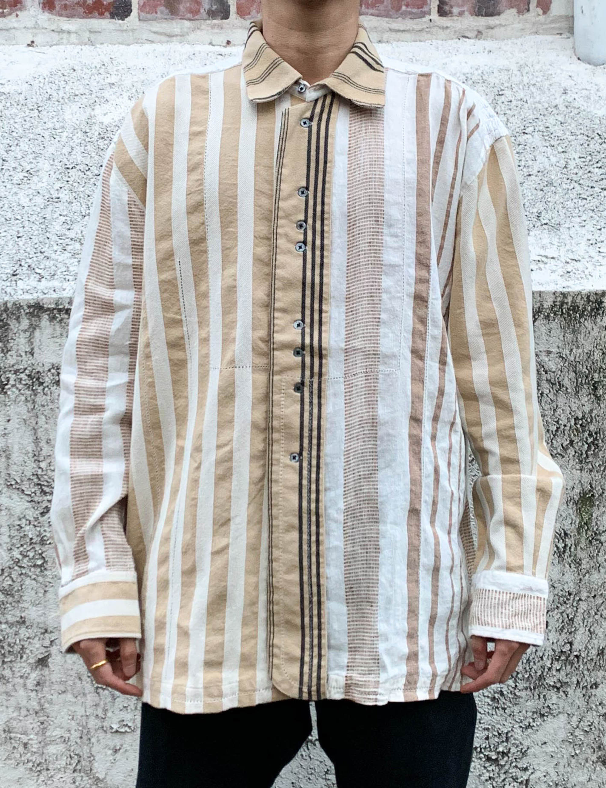 BEADING EMBROIDERY SHIRT_STRIPE
