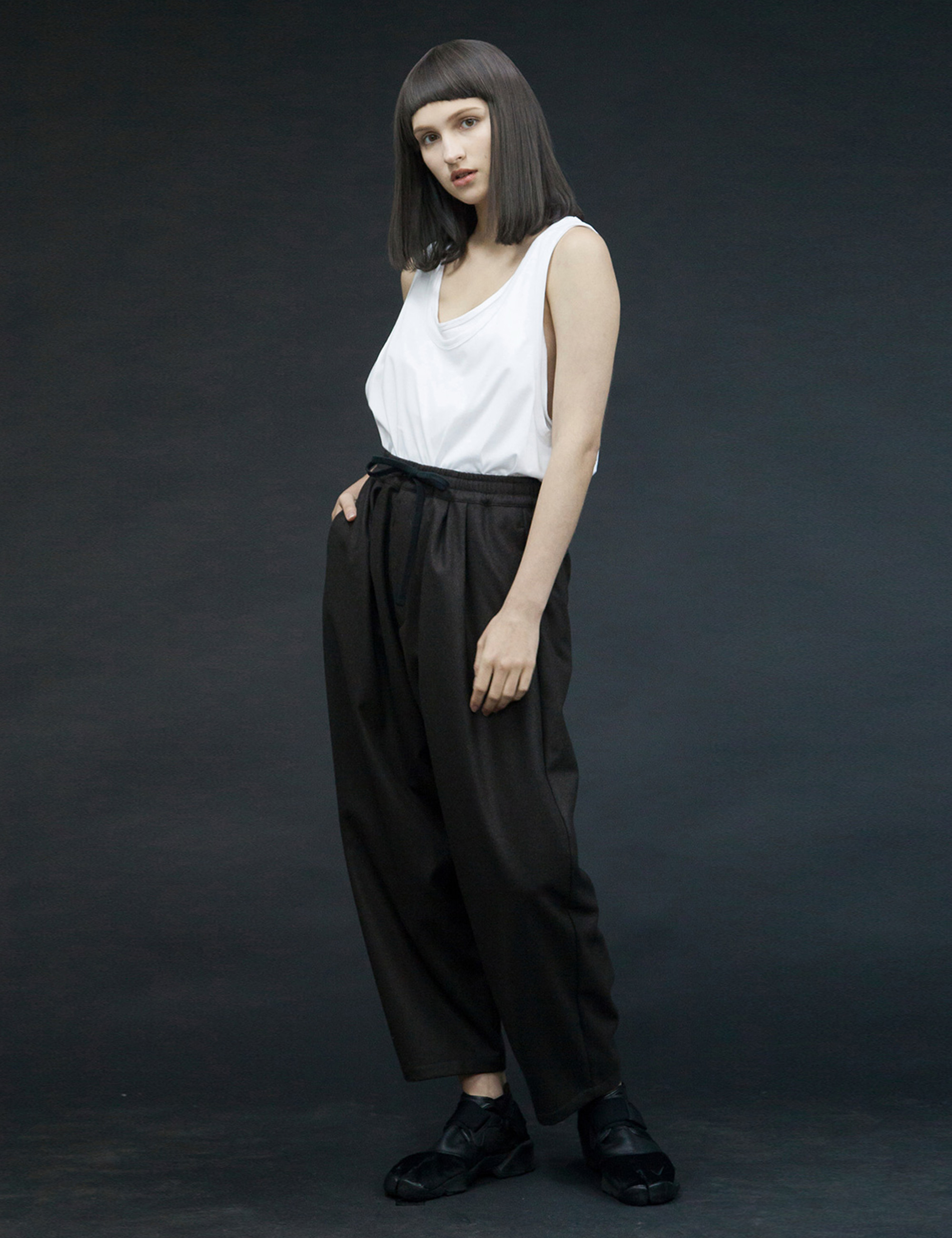 FLANNEL WOOL WIDE EASY PANTS_BLACK