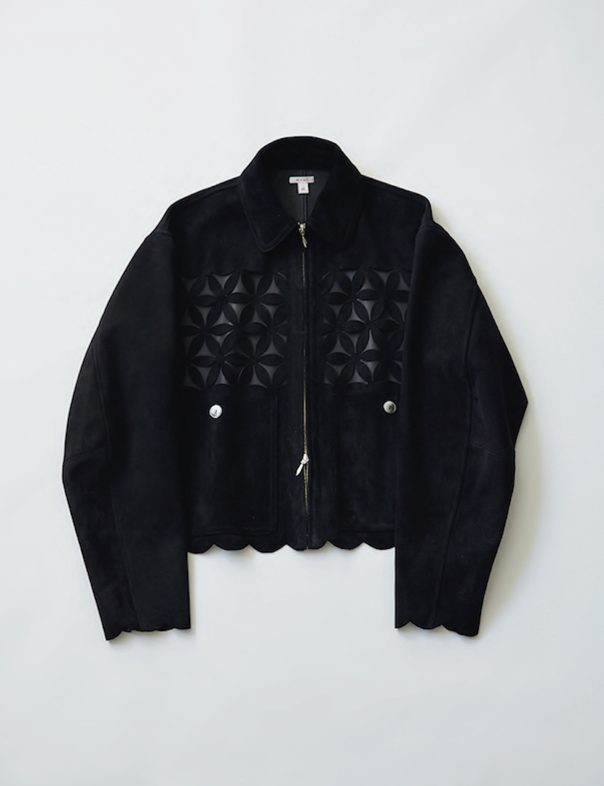 FLOWER CUT LEATHER BLOUSON_BLACK