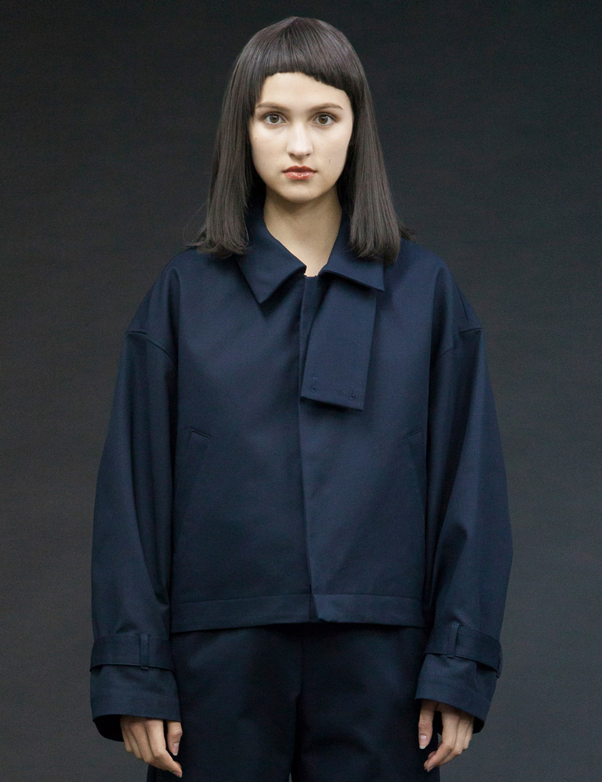 BOUBLE CLOTH SHORT BLOUSON_NAVY