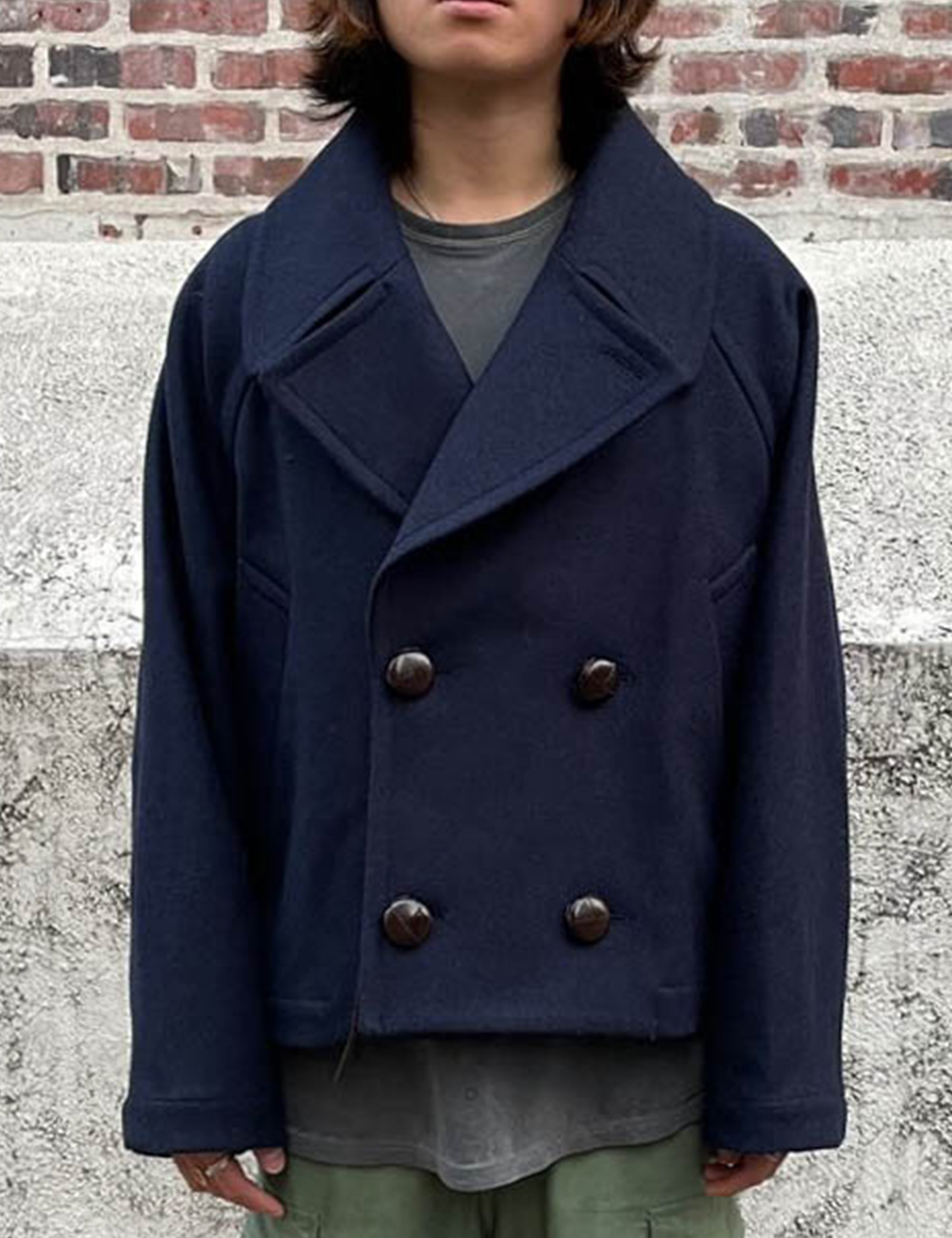 CROPPED PEA COAT_NAVY COOL WOOL